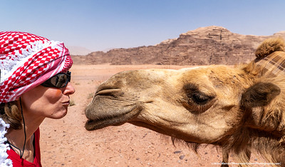 #1 – Wadi Rum Desert, Jordan.  Close encounter between Cherie' and a camel.