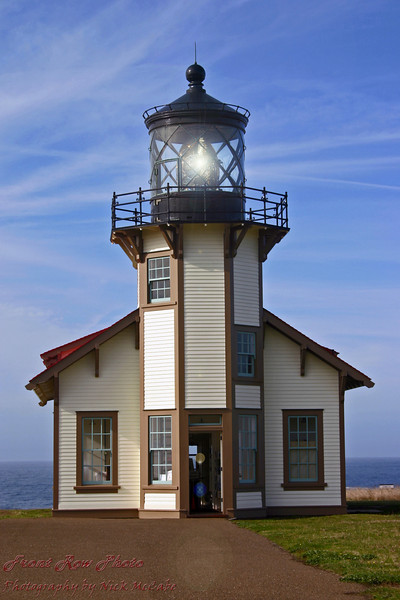 This is a lighthouse near Mendocino in California. I touched up the color a little and added the light reflection in the light itself.