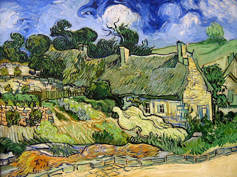 Photo taken at the d'Orsay Museum in Paris - Vincent van Gogh - Thatched Cottages at Cordeville - Oil on canvas - Auvers-sur-Oise June 1890 - Paris: Musée d'Orsay or d'Orsay Museum Paris --- JohnBrody.com - John Brody Photography