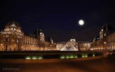 Moonrise over the Louvre Museum and I.M. Pei Pyramid in Paris France - John Brody Photography / JohnBrodyPhotography.com / JohnBrody.com