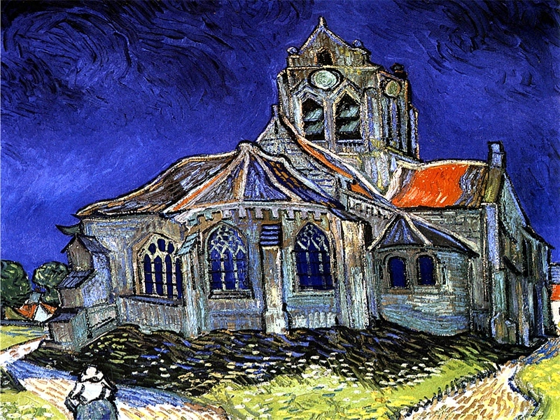 Vincent Van Gogh - The Church at Auvers 1890 Musée d'Orsay Paris aka D'Orsay Museum Paris --- JohnBrody.com