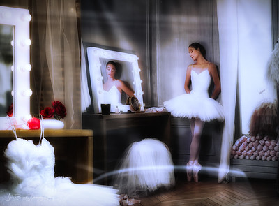 Ballet Dancer in Mixed Media with Shoes and Reflections - The soft whites and red accents made this scene a standout - JohnBrody.com / John Brody Photography