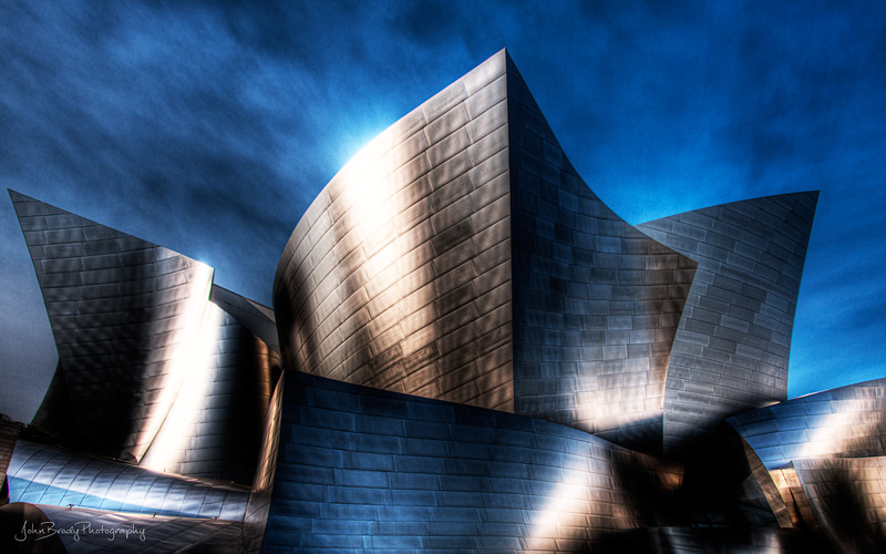 Walt Disney Concert Hall Los Angeles, California - Shot during some brush fires in the nearby hillsides, this seven image HDR took on some very bizarre coloring. A unique view of this Frank Gehry masterpiece... JohnBrody.com / John Brody Photography