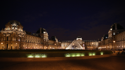 Louvre Museum and Pyramid, Paris France - JohnBrody.com / John Brody Photography