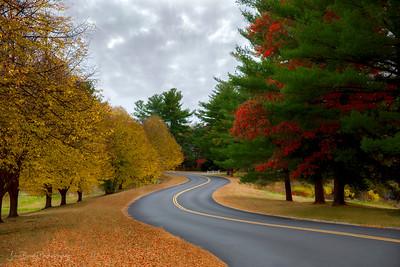 Winding Road on a Rainy Autumn New Hampshire Day - John Brody Photography