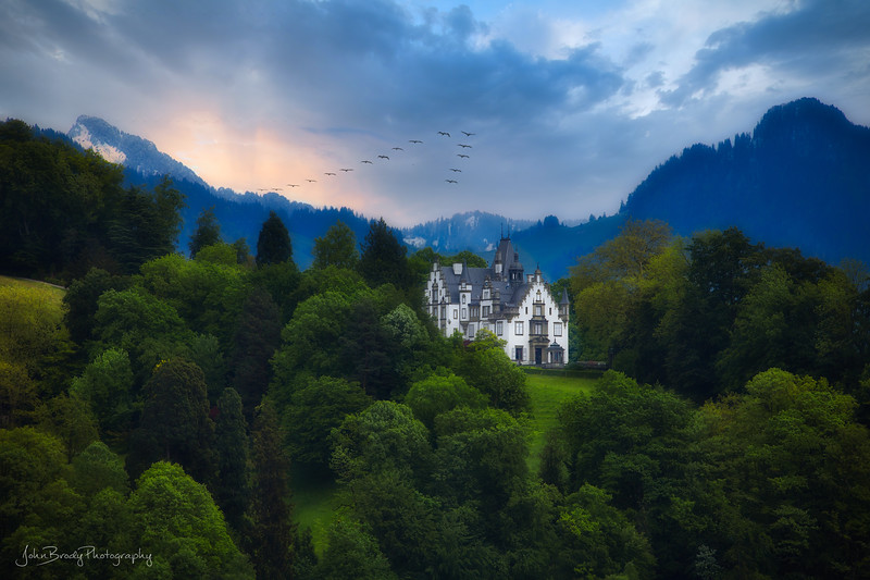 Castle on a Hillside in Switzerland overlooking Lake Lucerne - John Brody Photography