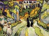 Vincent van Gogh - Stairway at Auvers - Two Women - Oil on canvas - Auvers-sur-Oise late May, 1890 AKA Village Street and Steps in Auvers with Figures --- JohnBrody.com