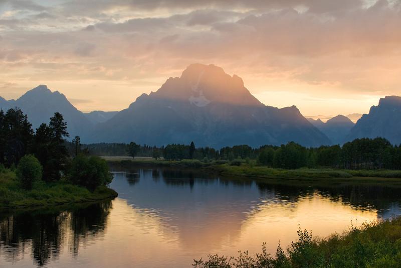 Last light, Mt. Moran, Grand Teton