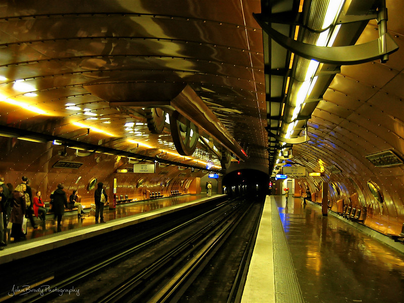 The Paris Métro station Arts et Métiers. This station was a work of art in itself - Amazing design, brilliant colors, and all copper construction, it was as nice as the museum I had just left - JohnBrody.com / John Brody Photography