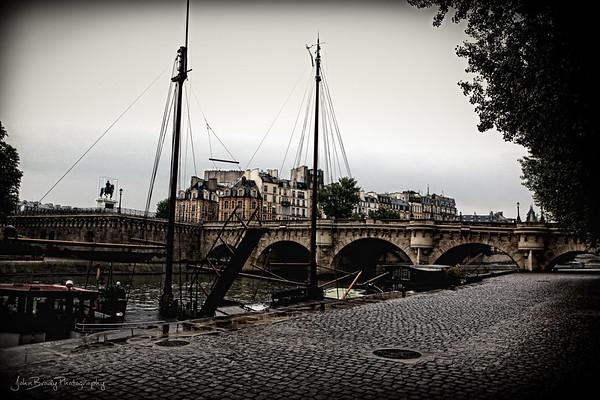 Riverside Walkway at Pont Neuf Bridge Paris - After the Rain - JohnBrody.com / John Brody Photography