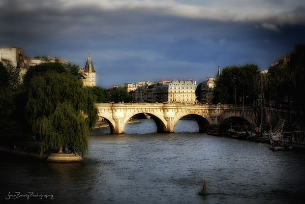Evening Sun on Pont Neuf and the Seine River - Shot from the Pont des Arts AKA the Bridge Of Arts in Paris - JohnBrody.com / John Brody Photography