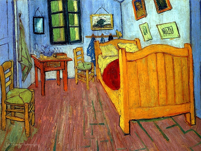Vincent Van Goghs's Bedroom in Arles - D'OrsayMuseum Paris - The painting shown here is actually one five versions hw did: three oil on canvas and two letter sketches --- JohnBrody.com