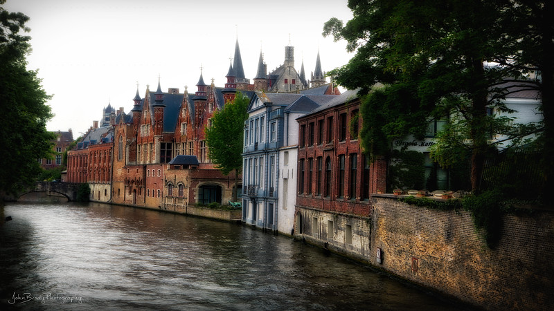 500 Year Old Houses on the Canal on a Gloomy Day in Bruges Belgium - John Brody Photography