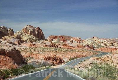Shot through the windshield, a great drive, Valley of Fire state park, Nevada