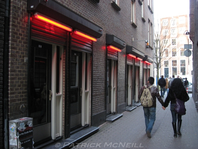 The red light district in Amsterdam. I'd always heard about it but this was actually it. The women are quite the salespeople too, trying to get you in.