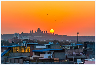 Sun rising over Umaid Bhawan Palace, Jodhpur
