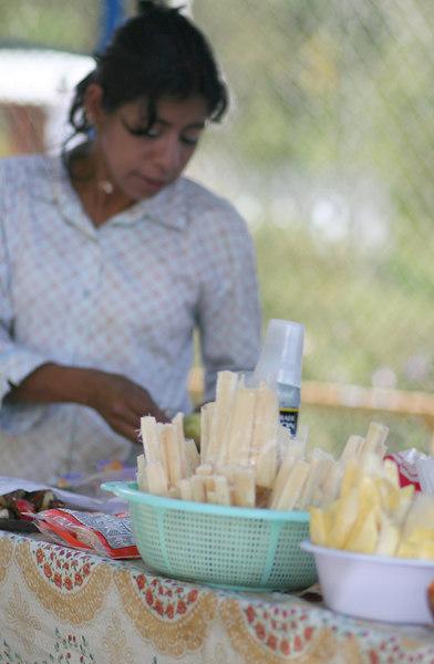 Sugar cane vendor.<br /> <br /> Vendedora de ca~a de azucar.