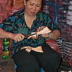 Making Elena's sandals in the market-2127