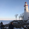 Two other photograhers here--Jim, on left, has lenses attached all around his waist-wife, is outside of photo, drove up from Columbus for THE FUN OF IT, she said-other guy, drove in from Toledo, to also see the Lighthouse in Winter.