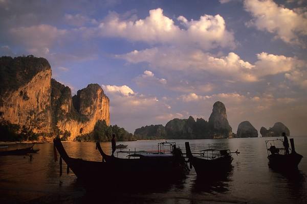 Ao Ton Sai boats at sunset, Thailand