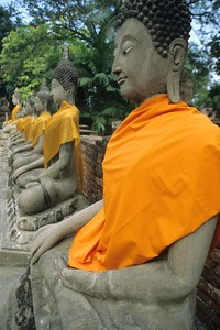 Ayuthaya stone buddha rows with gold wrap, Thailand