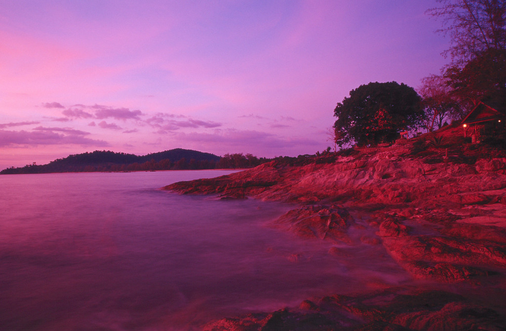 West coast Ko Chang purple sunset in rocks, Thailand