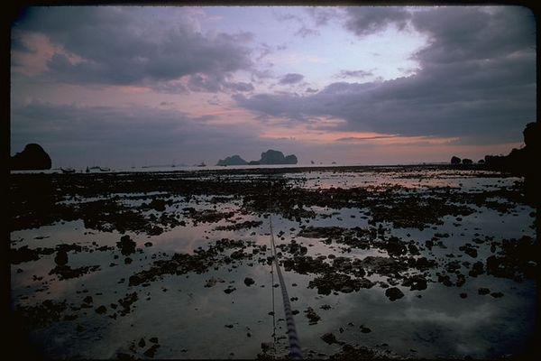 Ao Ton Sai low tide on the Andaman Sea, Thailand sunset