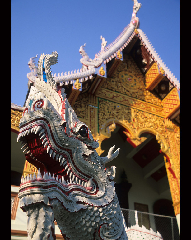 Chiang Mai temple detail with Dragon head, Thailand
