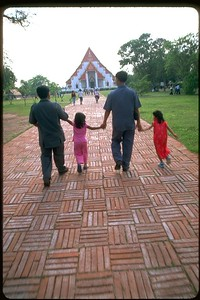 Ayuthaya temple two dads and two daughters, Thailand