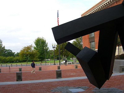 sculpture outside the United States Holocaust Memorial Museum