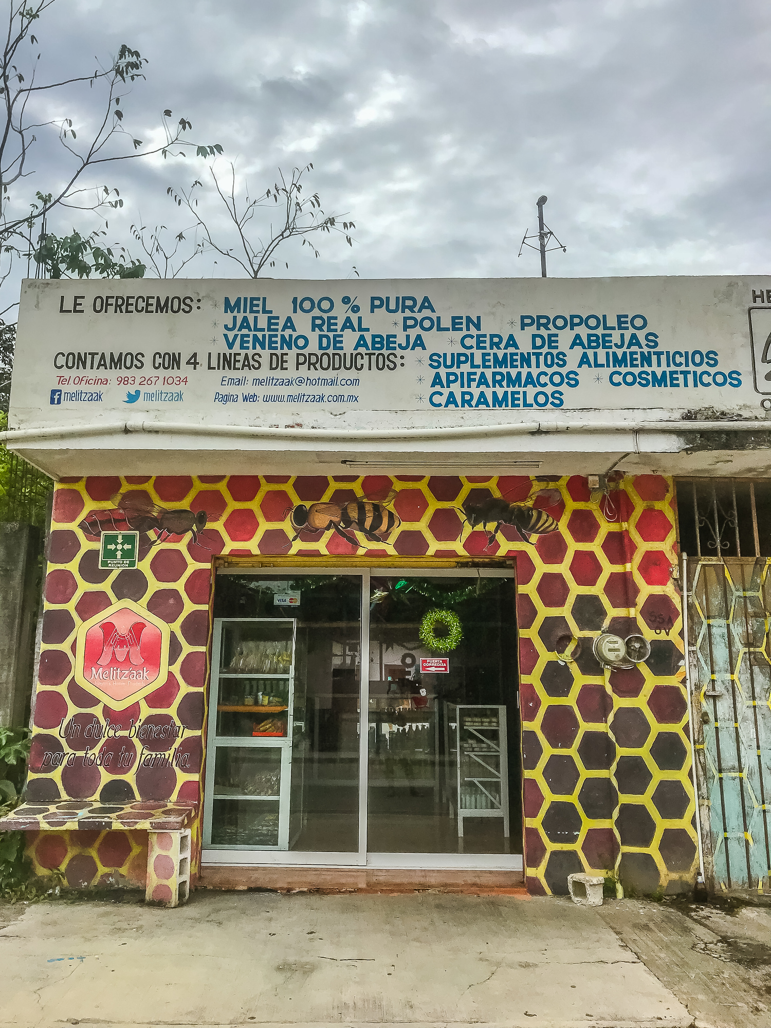 A honey store in Felipe Carrillo Puerto, honey is one of the most important products in this region and is eaten daily and used for soaps and other beauty products.