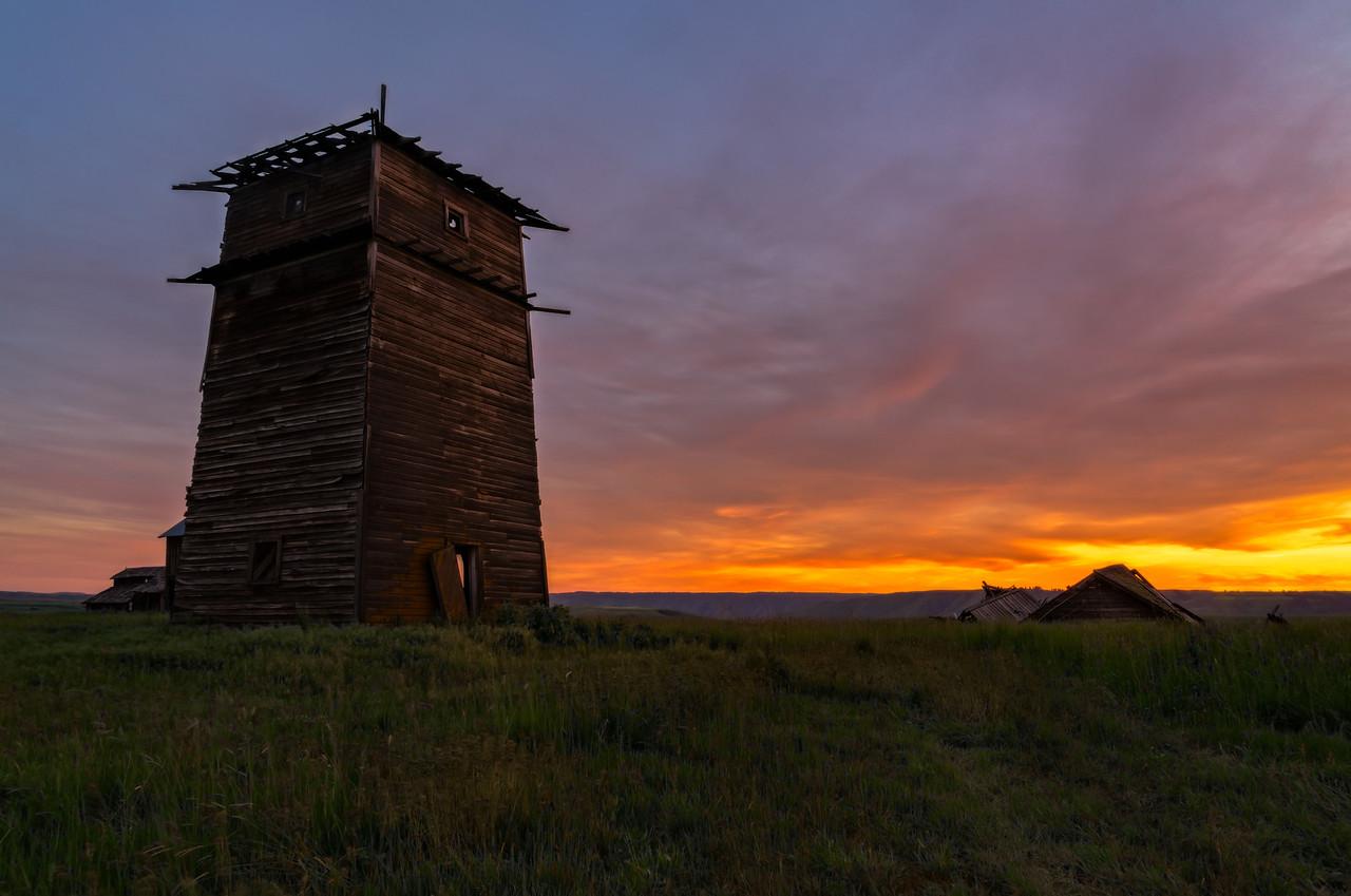 sunset on an old homestead