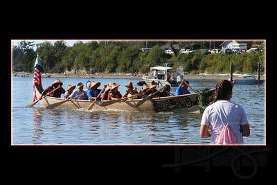 Lummi Nation canoe. By protocol, the host nation lands first.