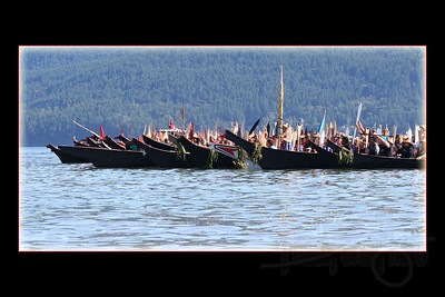 Canoes from up and down the Northwest coast awaiting landing per ceremonial protocol.