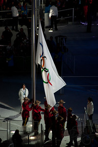 Medal ceremonies on 2-16-10. Raising of the Olympic flag.