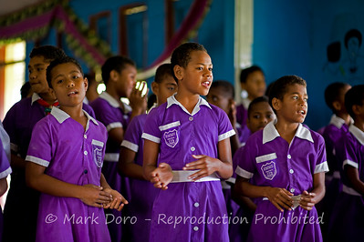 Girls singing, Nacula village school, Nacula Island, Fiji