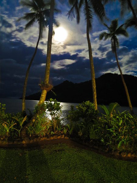 Moonlight on Beqa Island.<br /> Back light from the bar at Lalati Resort.