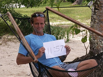 The Human Clock in a hammock. Mango Bay, Coral Coast, Fiji