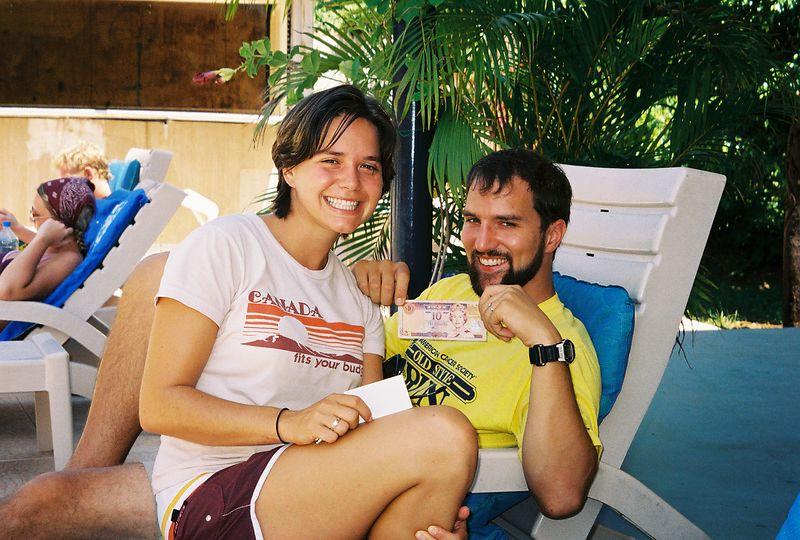 Jim showing off Fijian money