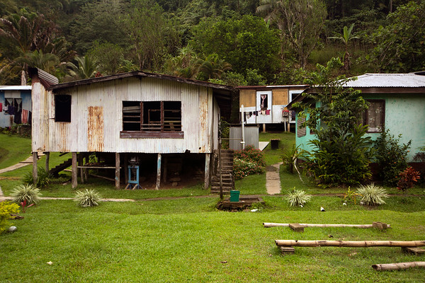 House on stilts in village