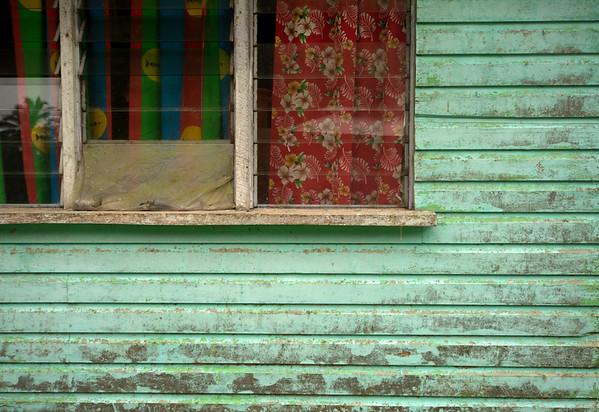 Blue house in village