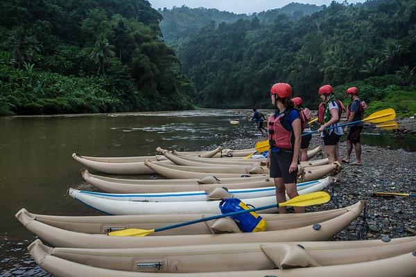 Kayakers preparing to enter water