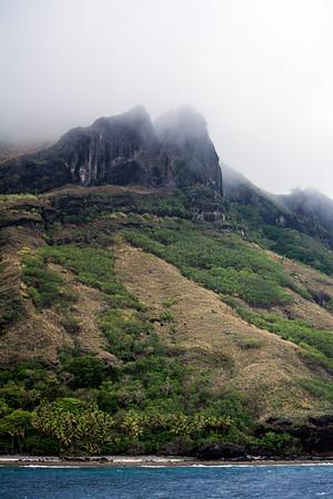 Cliffs shrouded in mist
