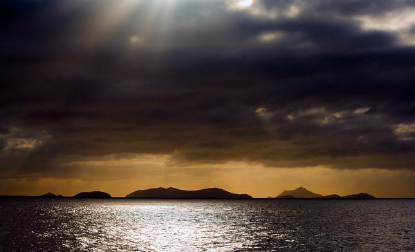 Stormy Yasawa Islands at dusk