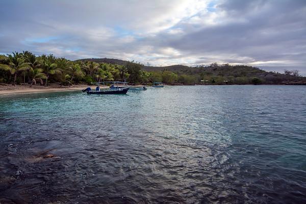 Dive boats moored at shore