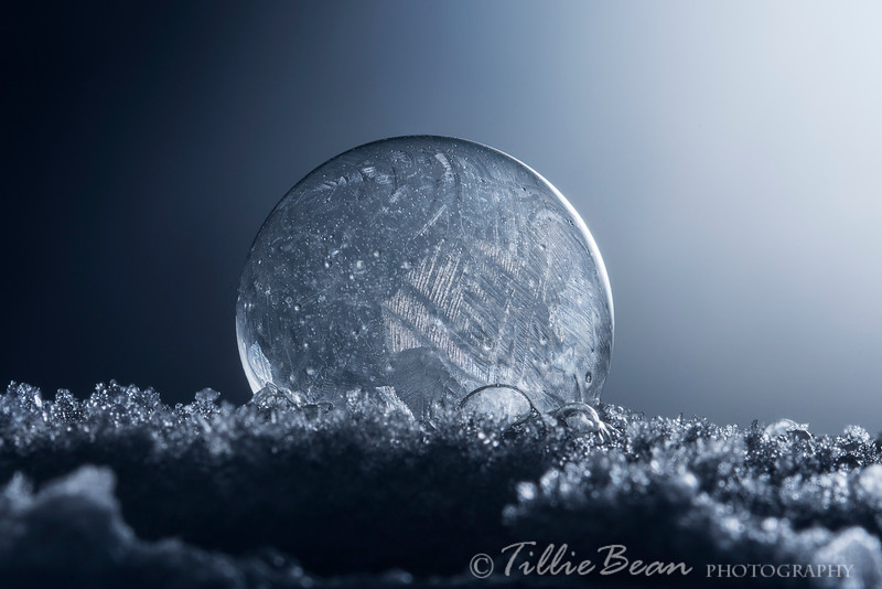 Frozen Soap Bubble caught on Snow