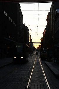 Tram tracks in the morning
