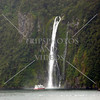 Waterfalls view at Milford Sound in Fiordland National Park, New Zealand.