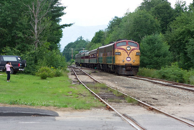 The Valley Train pulled into the Bartlett siding while the Notch Train (pictured) slowly moved South.