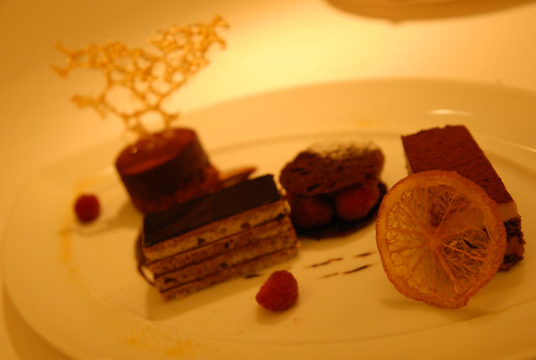 Fancy deserts at La Bourgogne restaurant